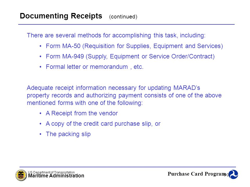 Documenting Receipts (continued)