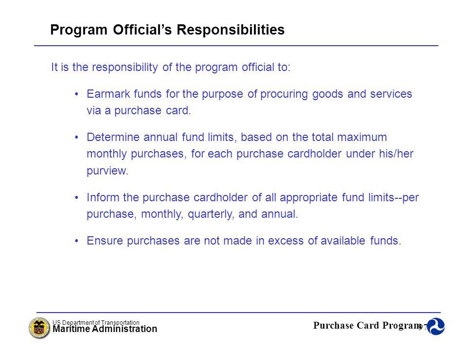 Program Official's Responsibilities