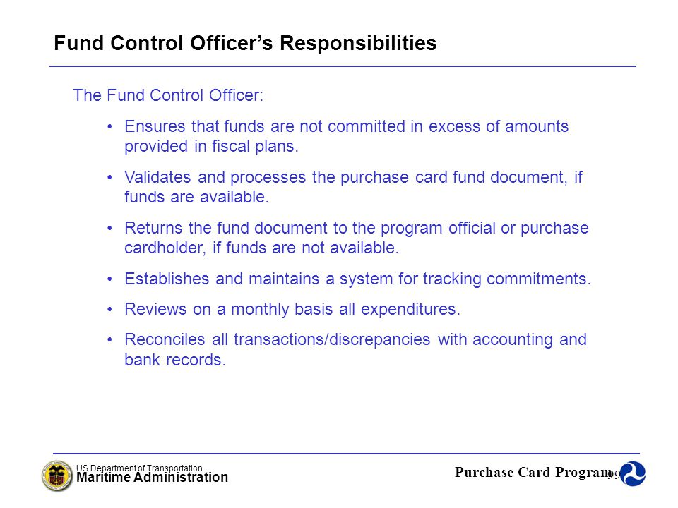 Fund Control Officer's Responsibilities
