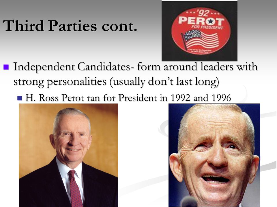 Third Parties cont. Independent Candidates- form around leaders with strong personalities (usually don't last long)