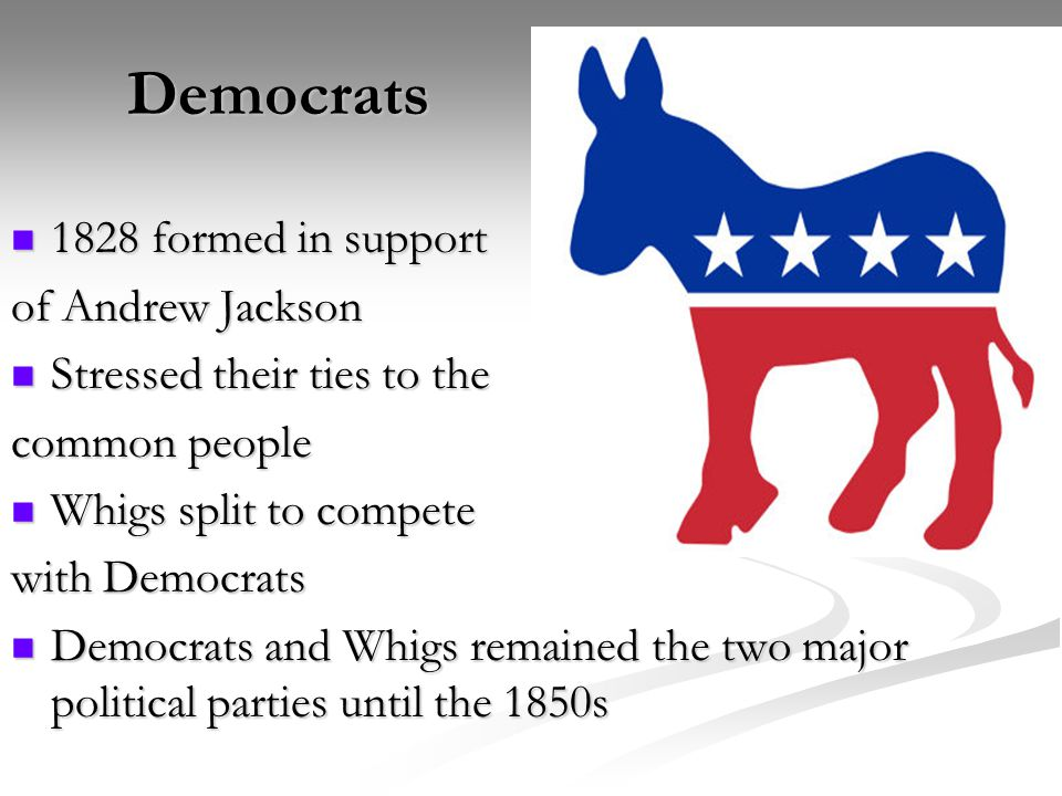 Democrats 1828 formed in support of Andrew Jackson