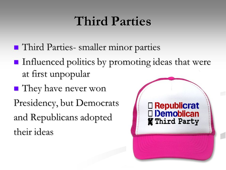 Third Parties Third Parties- smaller minor parties