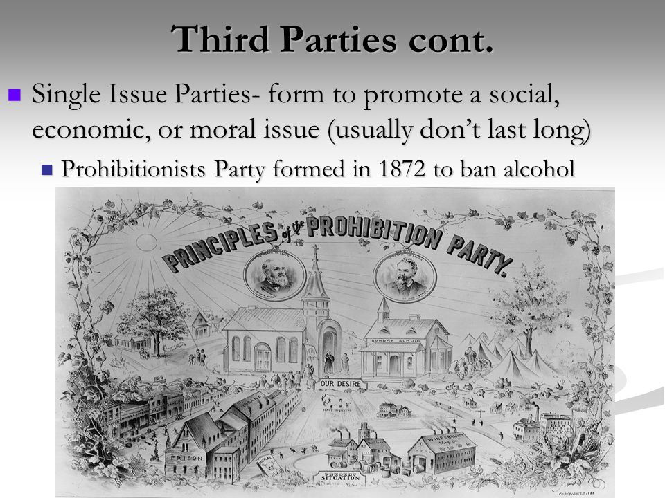 Third Parties cont. Single Issue Parties- form to promote a social, economic, or moral issue (usually don't last long)