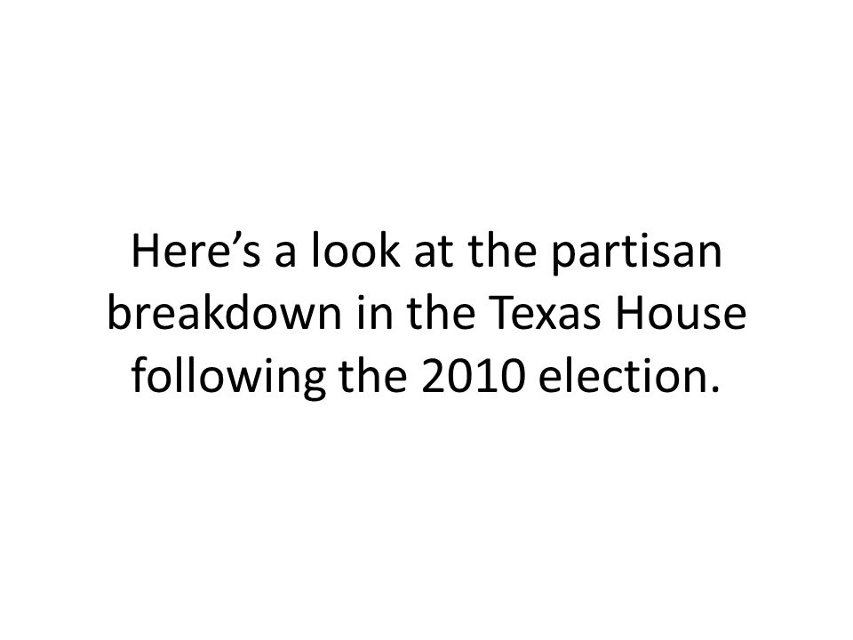 Here's a look at the partisan breakdown in the Texas House following the 2010 election.