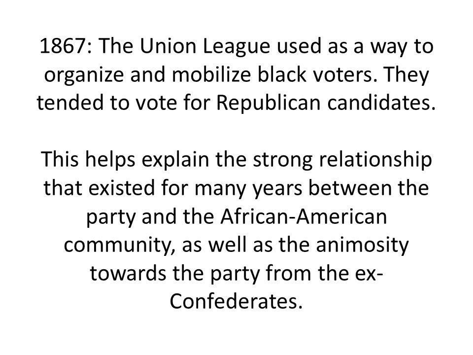1867: The Union League used as a way to organize and mobilize black voters.
