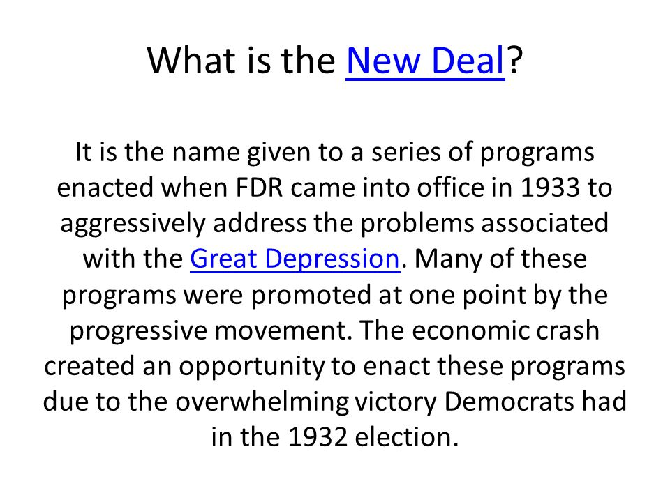 What is the New Deal.