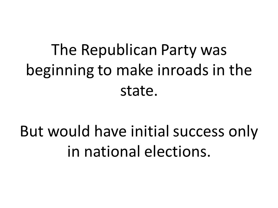 The Republican Party was beginning to make inroads in the state