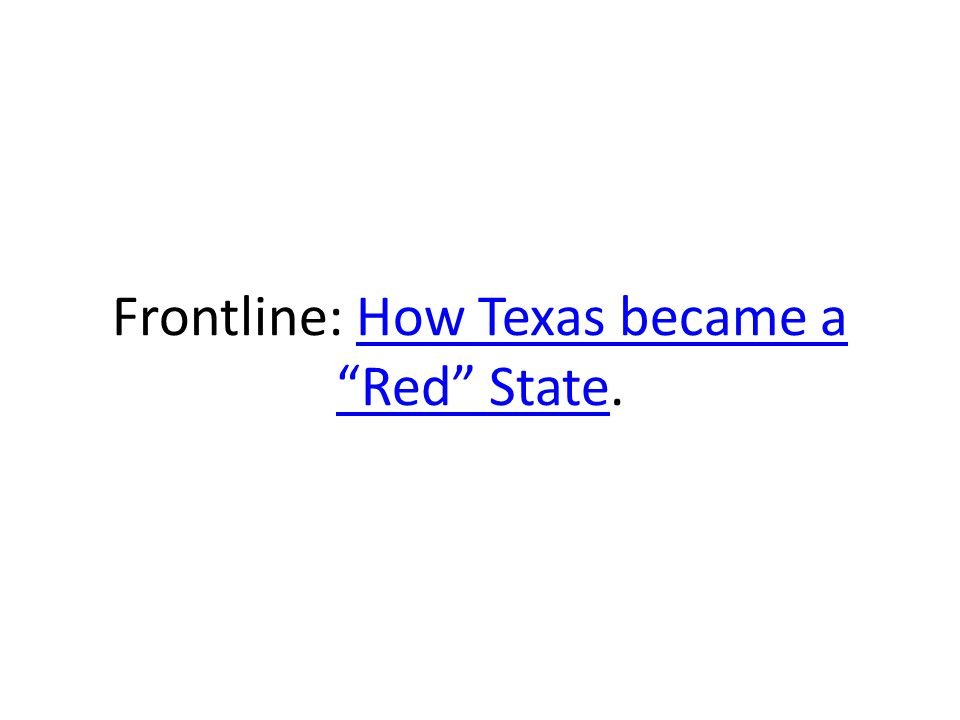 Frontline: How Texas became a Red State.