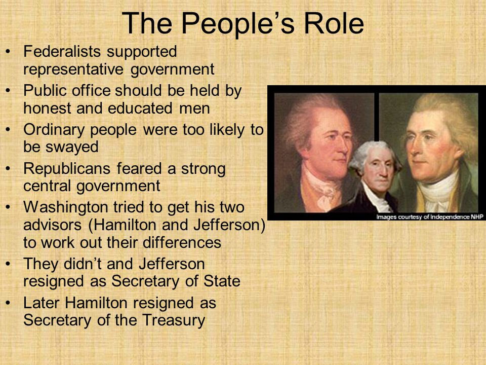 The People's Role Federalists supported representative government