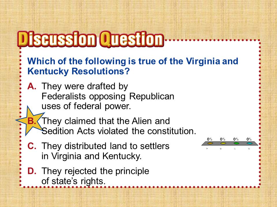Section 3 Which of the following is true of the Virginia and Kentucky Resolutions