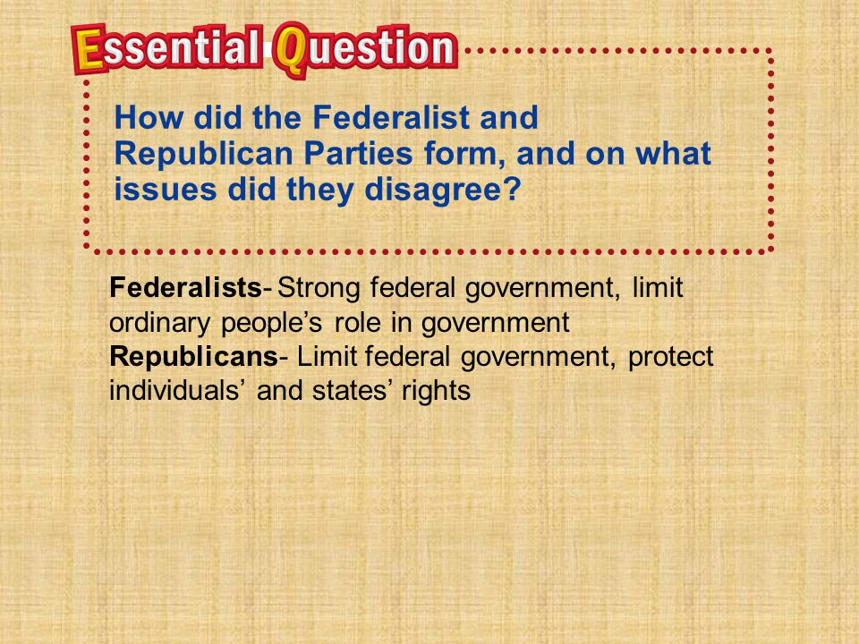 How did the Federalist and Republican Parties form, and on what issues did they disagree