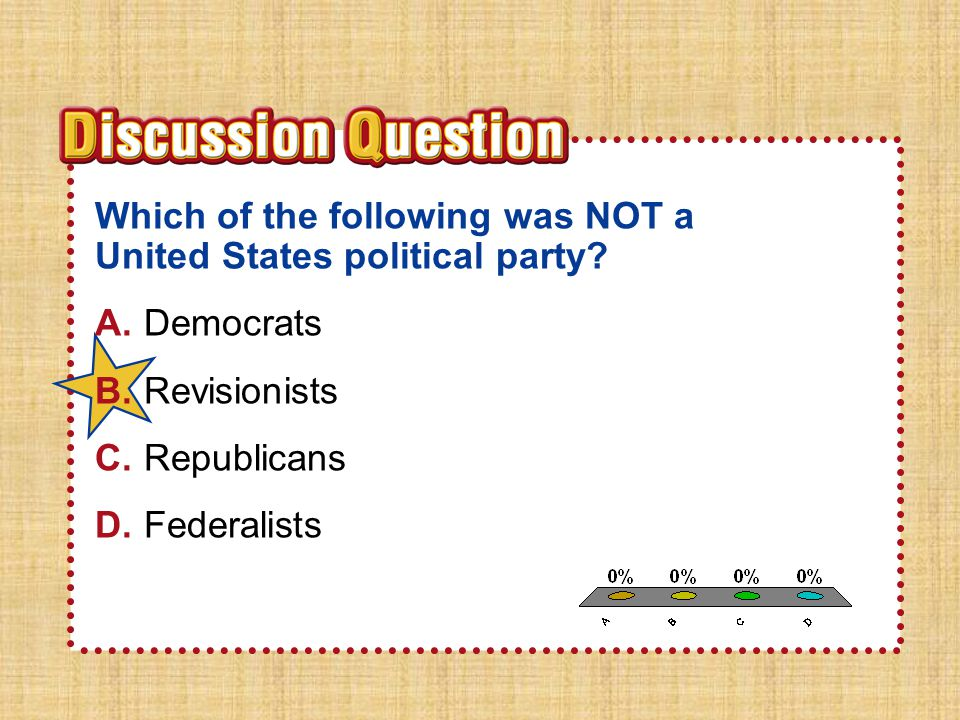 Section 3 Which of the following was NOT a United States political party A. Democrats. B. Revisionists.