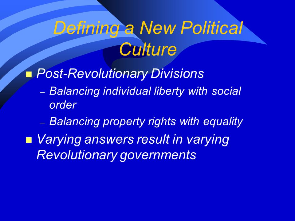 Defining a New Political Culture