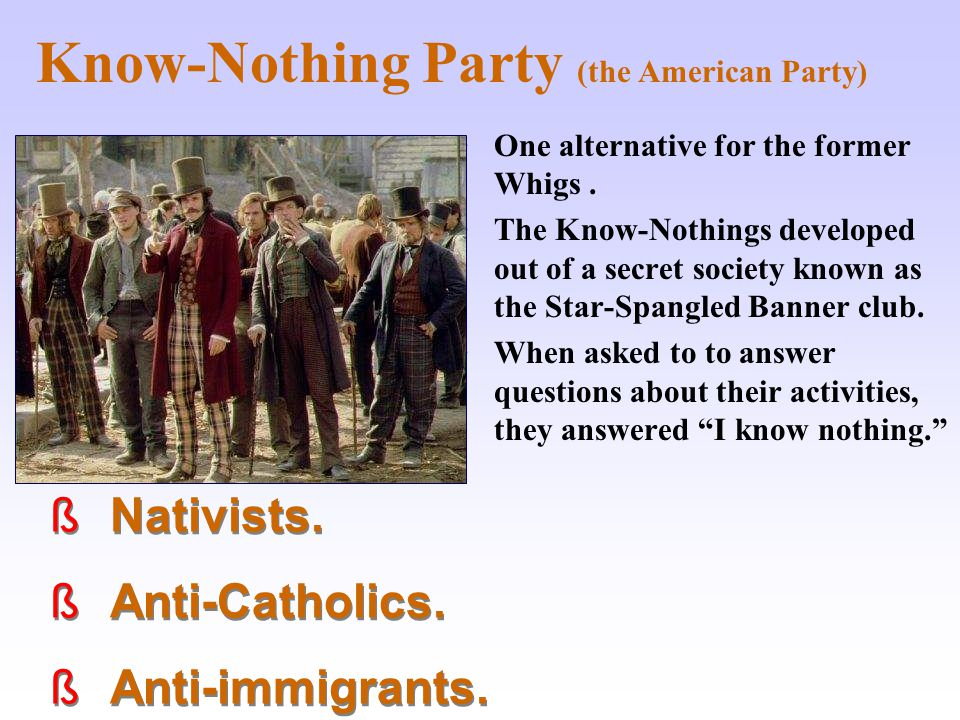 Know-Nothing Party (the American Party)