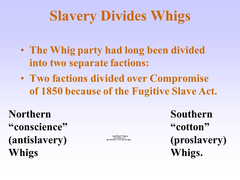 Slavery Divides Whigs The Whig party had long been divided into two separate factions: