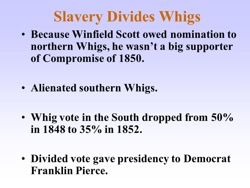 Slavery Divides Whigs Because Winfield Scott owed nomination to northern Whigs, he wasn't a big supporter of Compromise of 1850.