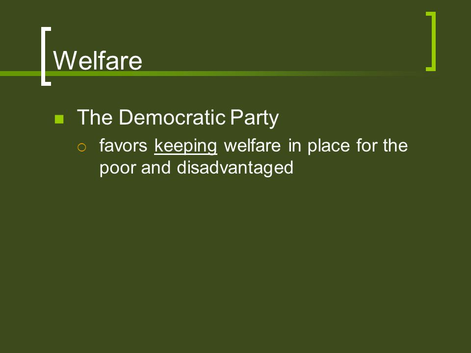 Welfare The Democratic Party
