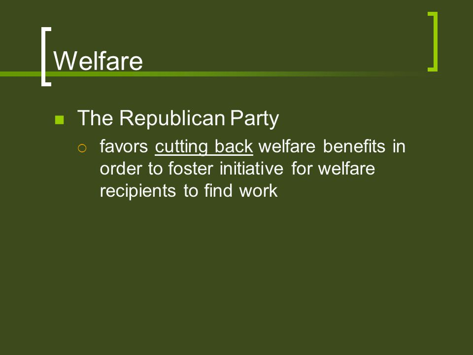 Welfare The Republican Party