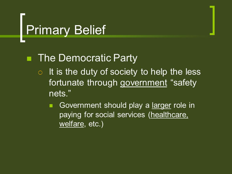 Primary Belief The Democratic Party