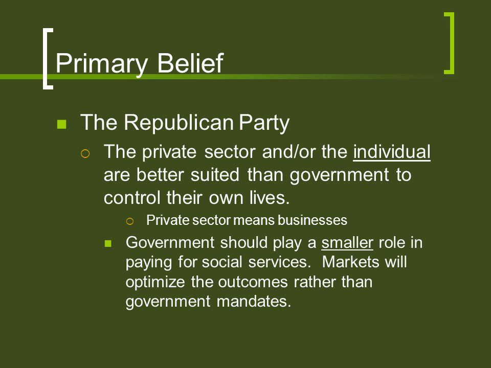 Primary Belief The Republican Party