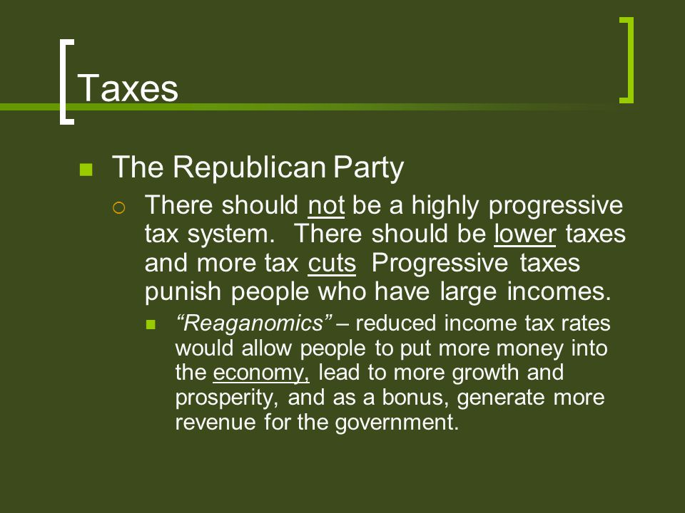 Taxes The Republican Party