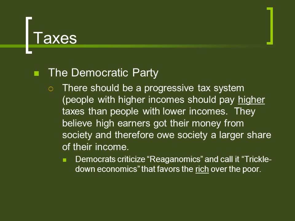 Taxes The Democratic Party