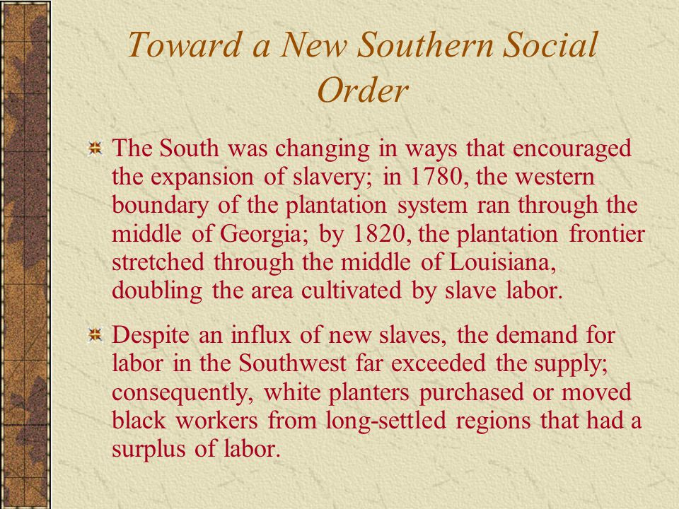 Toward a New Southern Social Order