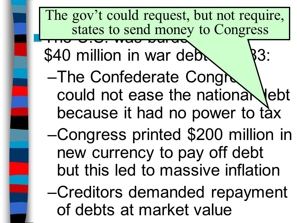 Debt, Taxes, & Inflation The gov't could request, but not require, states to send money to Congress.