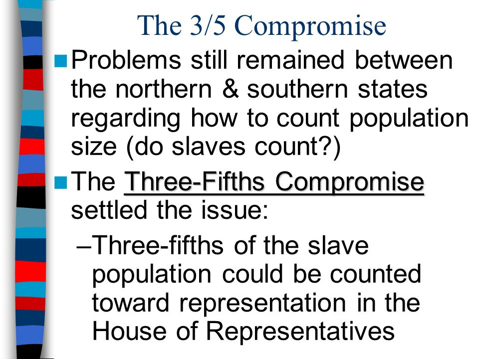 The 3/5 Compromise Problems still remained between the northern & southern states regarding how to count population size (do slaves count )