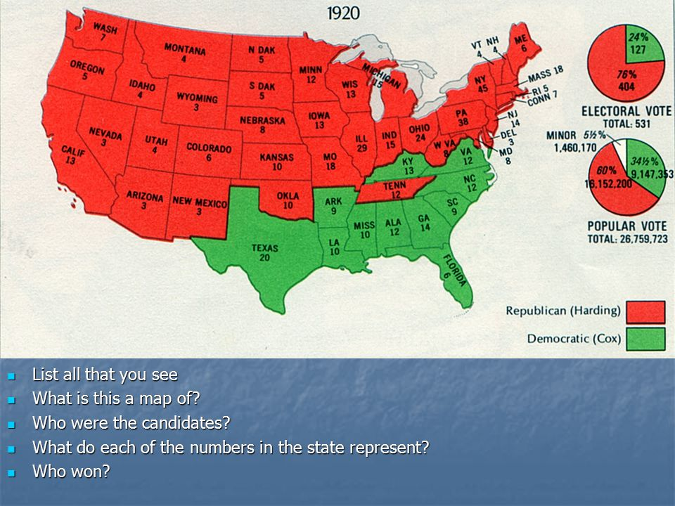 List all that you see What is this a map of Who were the candidates What do each of the numbers in the state represent