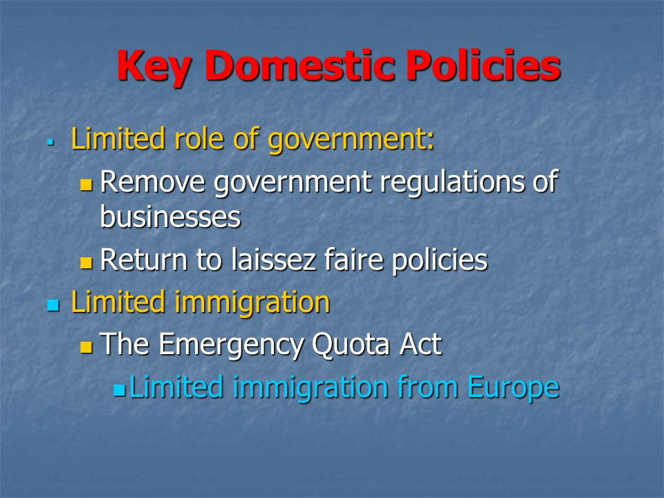 Key Domestic Policies Limited role of government: