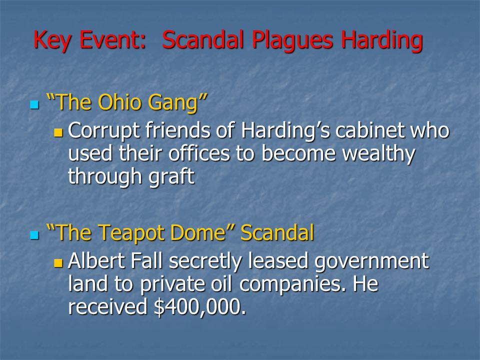 Key Event: Scandal Plagues Harding