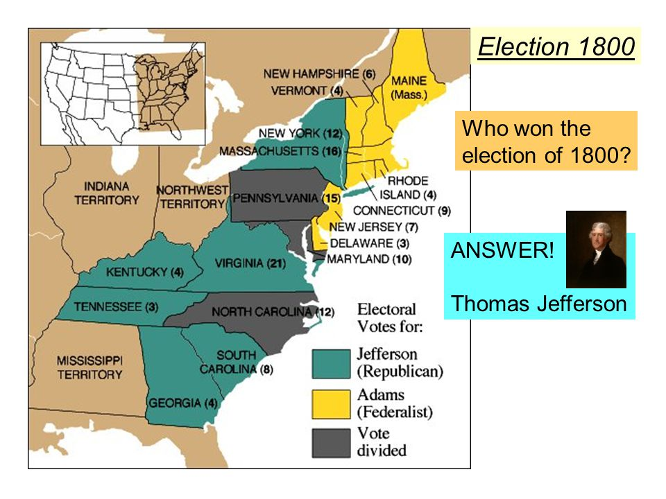 Election 1800 Who won the election of 1800 ANSWER! Thomas Jefferson