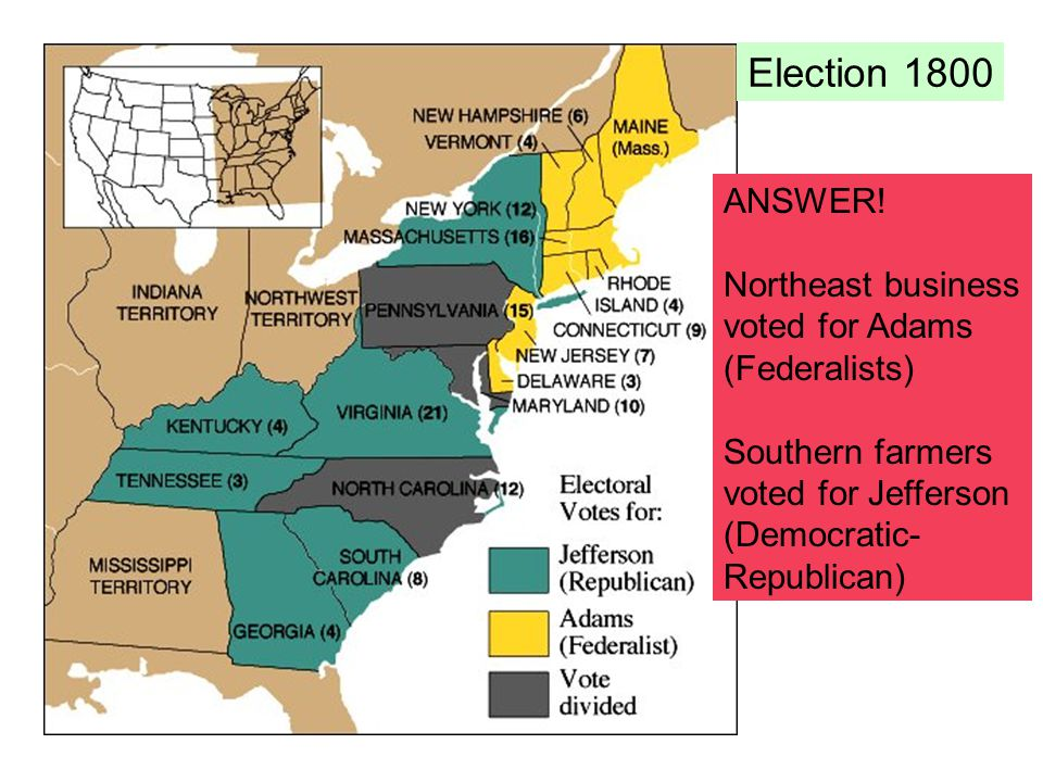 Election 1800 ANSWER! Northeast business voted for Adams (Federalists)