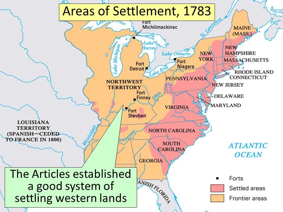The Articles established a good system of settling western lands