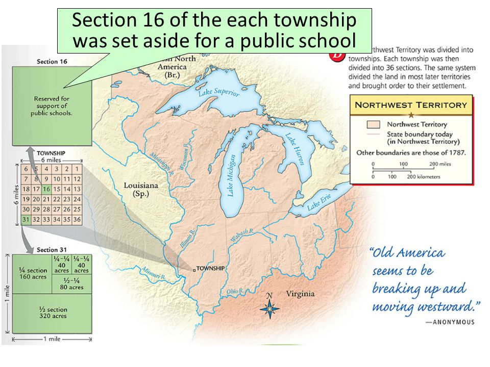 Section 16 of the each township was set aside for a public school