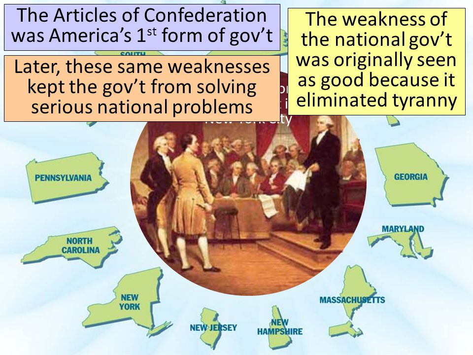 The Articles of Confederation was America's 1st form of gov't