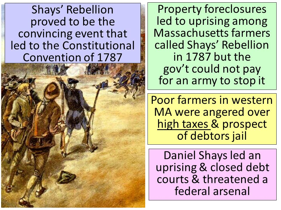 Shays' Rebellion proved to be the convincing event that led to the Constitutional Convention of 1787