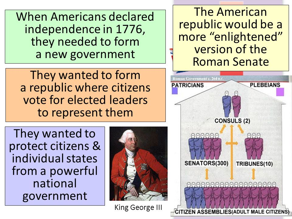 The American republic would be a more enlightened version of the Roman Senate