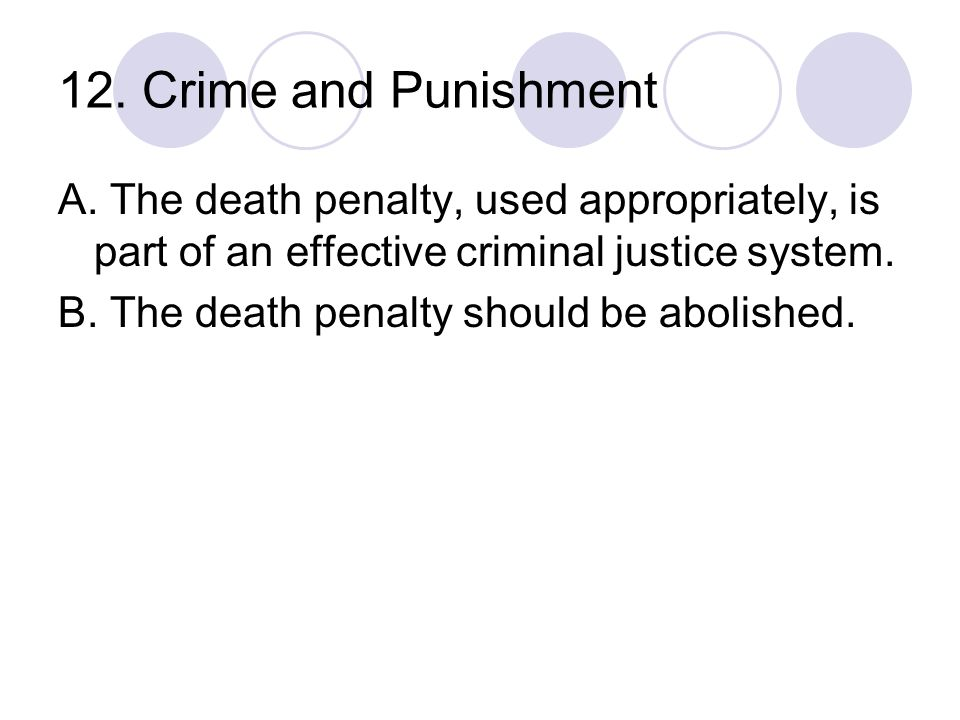 12. Crime and Punishment A. The death penalty, used appropriately, is part of an effective criminal justice system.