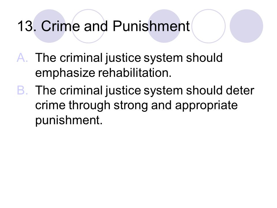 13. Crime and Punishment The criminal justice system should emphasize rehabilitation.