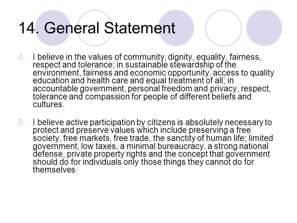14. General Statement