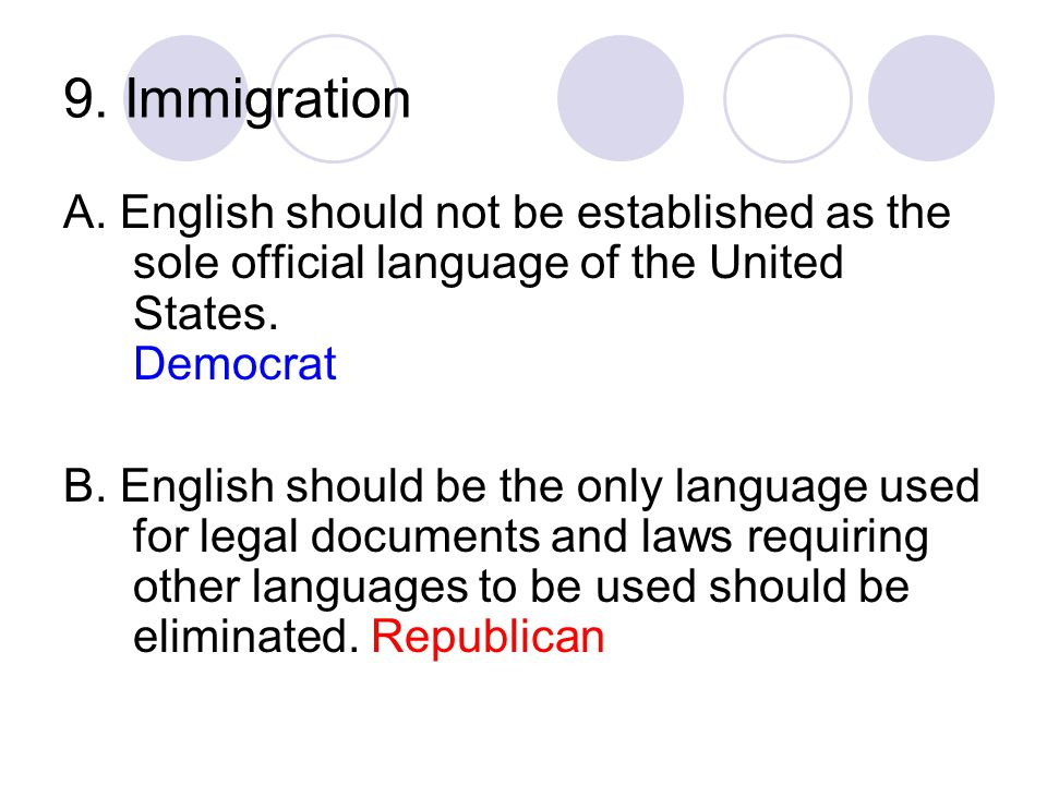 9. Immigration A. English should not be established as the sole official language of the United States. Democrat.