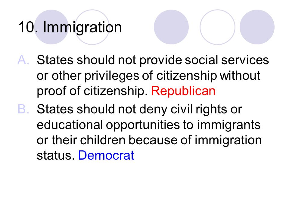 10. Immigration States should not provide social services or other privileges of citizenship without proof of citizenship. Republican.