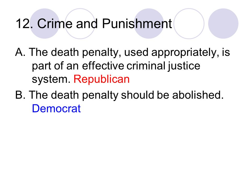 12. Crime and Punishment A. The death penalty, used appropriately, is part of an effective criminal justice system. Republican.