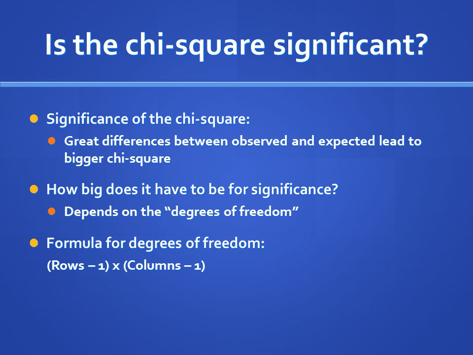 Is the chi-square significant