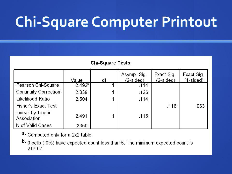 Chi-Square Computer Printout