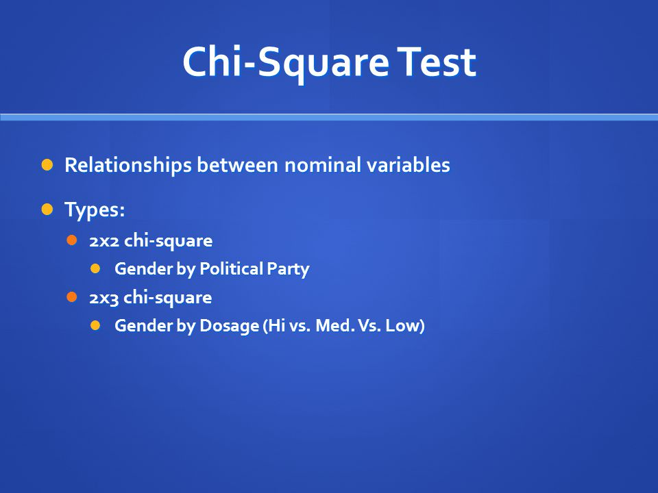 Chi-Square Test Relationships between nominal variables Types: