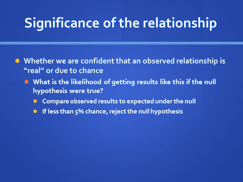 Significance of the relationship