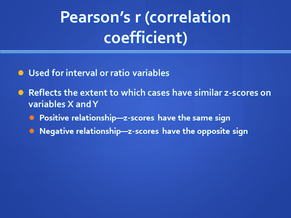 Pearson's r (correlation coefficient)